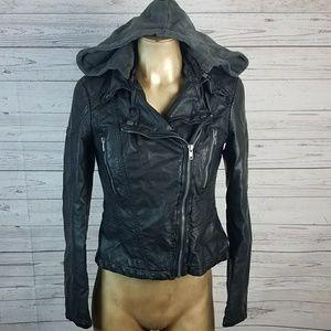 Free People Black Heartache Faux Leather Jacket 4